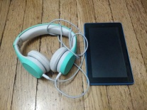 kid headphone and Kindle